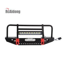 Metalowy zderzak przedni i LED światło dla 1/10 gąsienica RC samochód osiowy SCX10 90046 D90 Traxxas TRX-4 TRX4