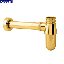 Brass Golden  Pop-up Basin Waste Drain, Mixer P-Trap Pipe Into the wall drainage tube Vessel or Ceramic Sink