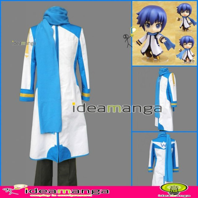 Manga Amime V+ VOCALOID KAITO style blue man's Cosplay  Costume male halloween party dress Any Size Freeshipping