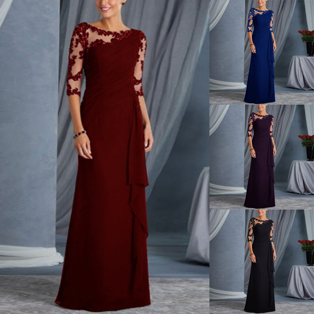 Elegant Lace Round Neck Long Patchwork Evening Party Women   Dresses   Sexy   Prom   Gowns Maxi   Dress   Christmas Plus Size Harajuku Lady