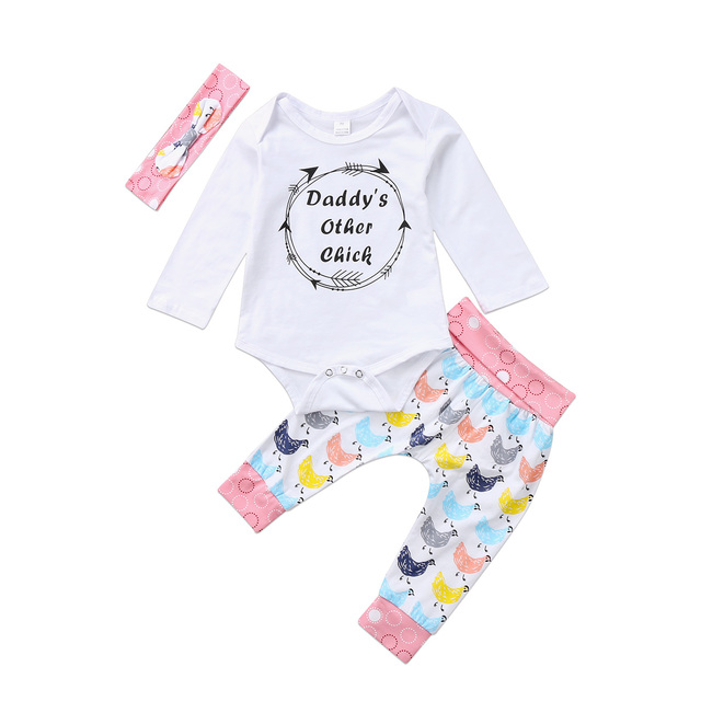 0998e188e2d6 Daddy s Chick Newborn Baby Girls Long Sleeve Romper Tops Jumpsuit ...