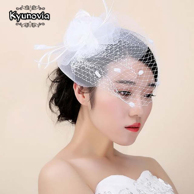 1a011a1ae64 Kyunovia Bridal Net Feather Hats White Hat Veil Bridal Flower Feathers  Fascinator Bride Face Veils Wedding