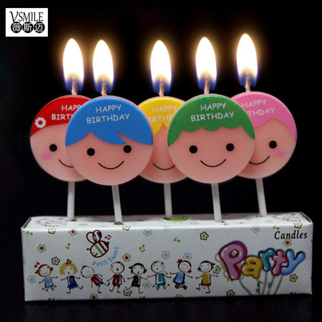5 pcsset Cute boys and girls design Kids Happy Birthday Cake