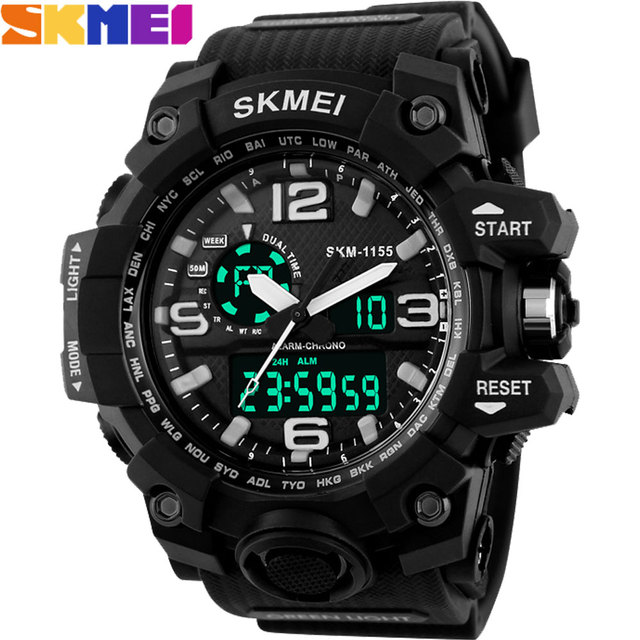 Skmei 2016 nuevo popular marca hombre deportes relojes LED digital cronógrafo zona horaria múltiple 30 M impermeable de goma starp