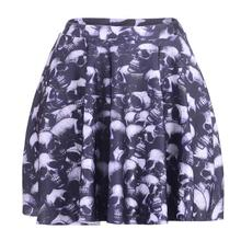 Black Skull Women Sexy Pleated Skirts Tennis Bowling Bust Shorts Skirts Personality Lady Fitness Sport Apparel A Style Skirts