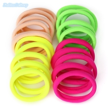 20pcs/lot Fashion Fluorescent Color Hair Band Rubber Band Elastic Cord Seamless Hair Ropes Holder Girls Hair Accessories
