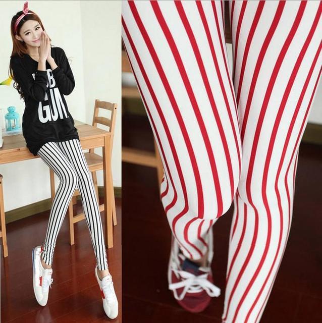b33f34fc7e US $18.89 |Vertical red white striped leggings fashion women's all match  neon pants ankle length trousers nine leggings pantalones deporte-in  Leggings ...