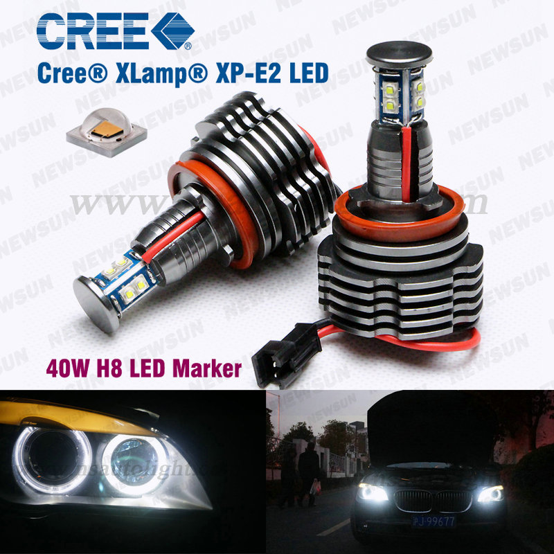 Canbus H8 40W CREE Chip LED Marker Angel Eyes for BMW E92 E87 E82 E93 E70 E71 E90 E91 E60 E61 E63 E64 H8 Plug & Play No Error all in one canbus 80w 8000lm cree chip led h4 hi