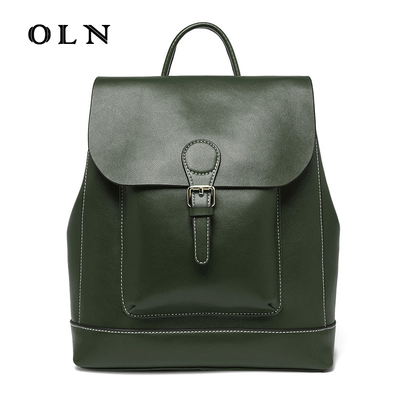 Здесь продается  OLN Brand European Style Genuine Cow Leather Backpacks High Quality Cow Leather School Bags For Girl Top Handle Knapsacks  Камера и Сумки