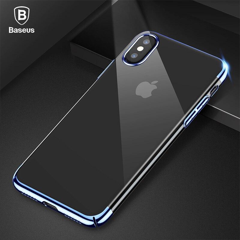 Baseus Luxus Überzug Fall Für iPhone X 10 Capinhas Ultra Dünne Galvanik Harte PC Zurück Abdeckung Fall Für iPhone X shell Coque