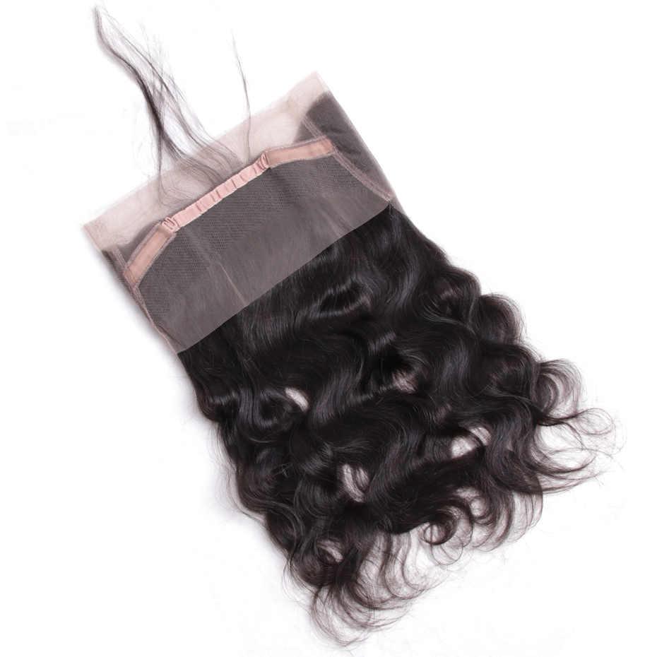 Габриель волосы малазийские волнистые предварительно сорванные 360 Кружева Фронтальная Закрытие с волосами младенца не Реми человеческие волосы Фронтальная Бесплатная доставка