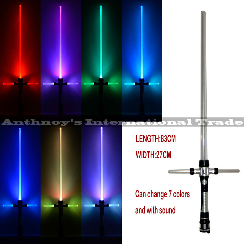 Kylo ren sword Star Wars Lightsaber With Light & Sounds 7 color changing Laser Sword Toys Cosplay Weapons Sabers Kid Boy Gift 2pcs cosplay star wars lightsaber sound telescopic led flashing light sword toys weapons sabers pvc action figure toy gifts boys