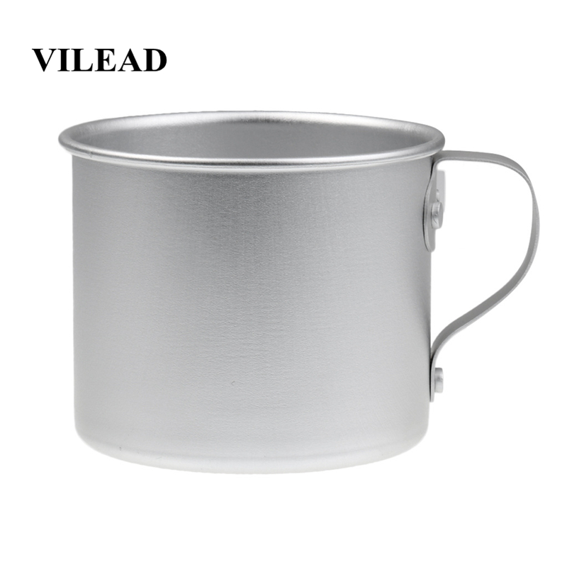 VILEAD 2 Pieces Aluminum Water Cup Mug with Lid Handle Folding Spork for Outdoor Camping Hiking Picnic Backpacking Ultralight-in Outdoor Tablewares from Sports & Entertainment