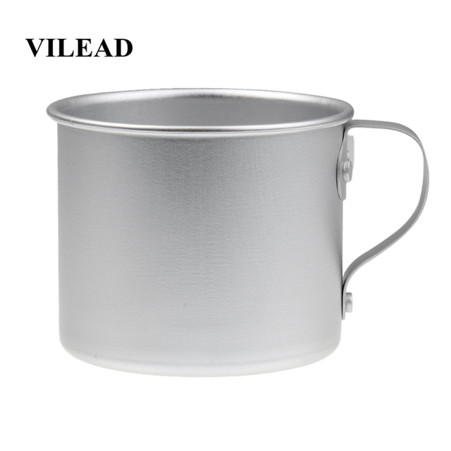 VILEAD 300ML Ultralight Aluminum Water Cup With Handle Portable Outdoor Water Bottle Mug for Camping Hiking Picnic Backpacking