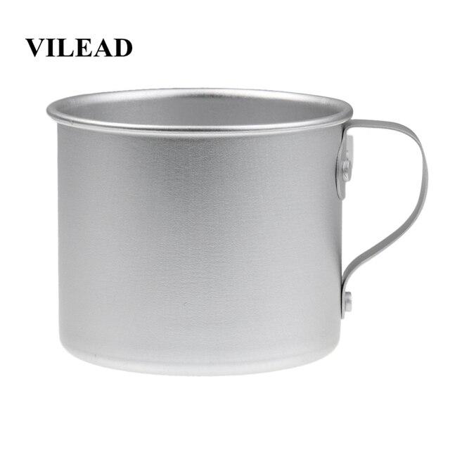VILEAD 300ML 초경량 알루미늄 워터 컵 핸들 캠핑 하이킹 피크닉 배낭을위한 휴대용 야외 물병 머그잔