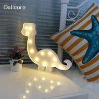 DELICORE 3D Marquee Dinosaur Night Lamp with 12 LED Battery operated White Letter light For Christmas Decoration Kid's Gift S125