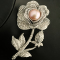 Luxury rose flower brooch genuine fresh water pearl with rhinestone brooches women accessories hijab pins wedding brooch bouquet