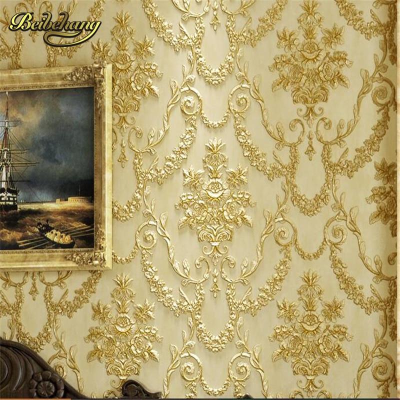 beibehang 3D three-dimensional sculpture wallpaper retro European style bedroom living room TV background long fiber AB