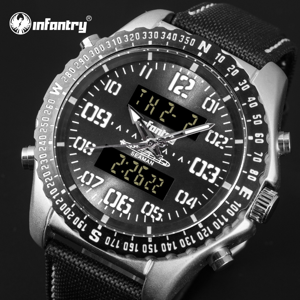Analog Digital Military Tactical Watches For Men Black Nylon