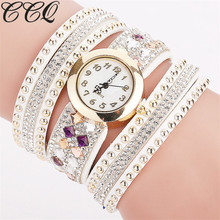 CCQ Luxurious Rhinestone Bracelet Quartz Watch Ladies Informal Wristwatch Girls Clock Relogio Feminino Reloj Mujer Clock Present 1811