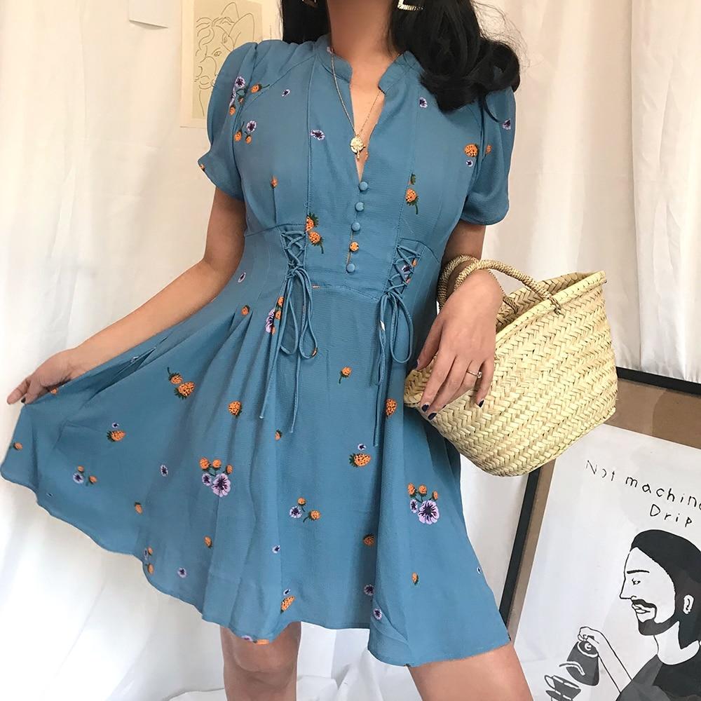 2019 robe femmes robe réel Ukraine été nouveau vacances imprimer col en v simple boutonnage cravate taille haute fleur manches en mousseline de soie femme
