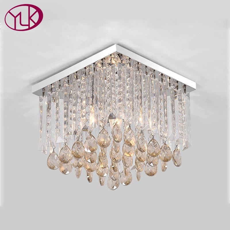 Modern LED Ceiling Light Fixture luminarias Lamp Diamond Crystal LED Ceiling Lamp Round Flush Mounted Lighting Fitting Lustres luxury big crystal modern ceiling light lamp lighting fixture