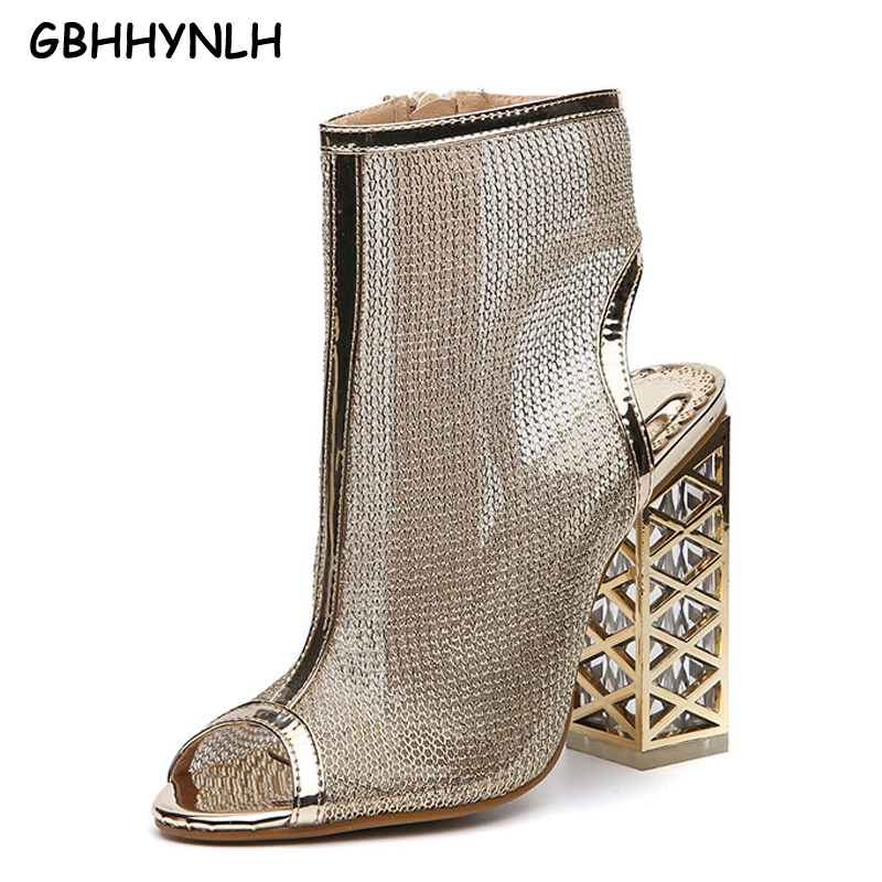 GBHHYNLH Woman Sandals gold Shoes High Heels Female Summer shoes Black Open Toe Ankle Strap Shoes Thick Heel Lady Sandals LJA130 цены онлайн