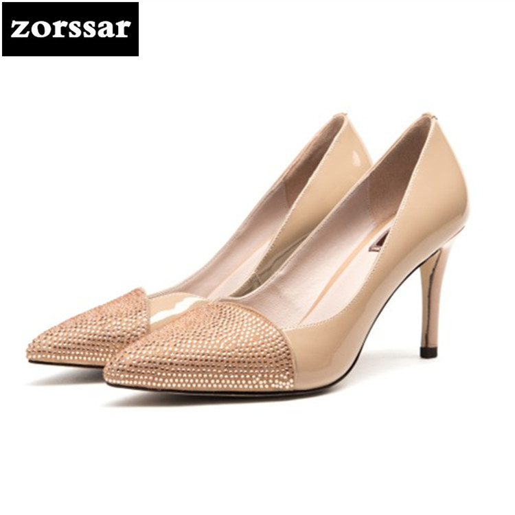 {Zorssar} 2018 New Patent leather women shoes heels pumps Sexy Thin Heels Pointed toe Shallow High heels womens dress shoes Nude new 2017 spring summer women shoes pointed toe high quality brand fashion womens flats ladies plus size 41 sweet flock t179
