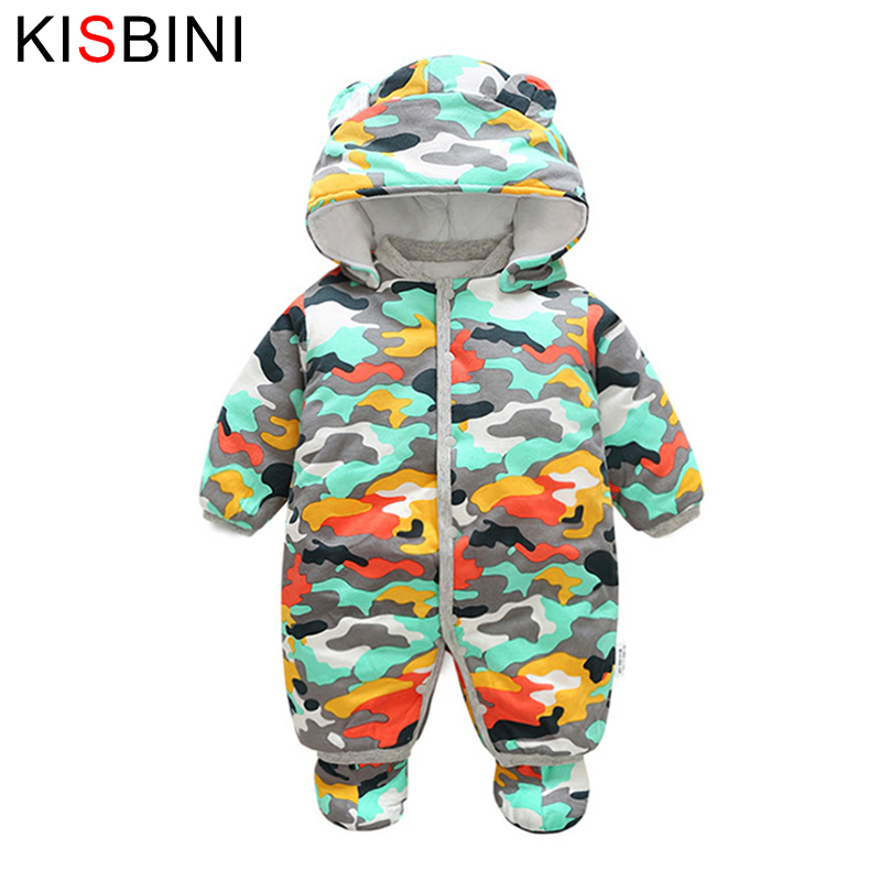 KISBINI Baby Rompers Winter Thick Warm Baby boy Clothing Long Sleeve Hooded Kids Clothes Boy Clothes Hooded 2017 Newborn Outwear 2017 new baby rompers winter thick warm baby boy clothing long sleeve hooded jumpsuit kids newborn outwear for 0 12m baby girls