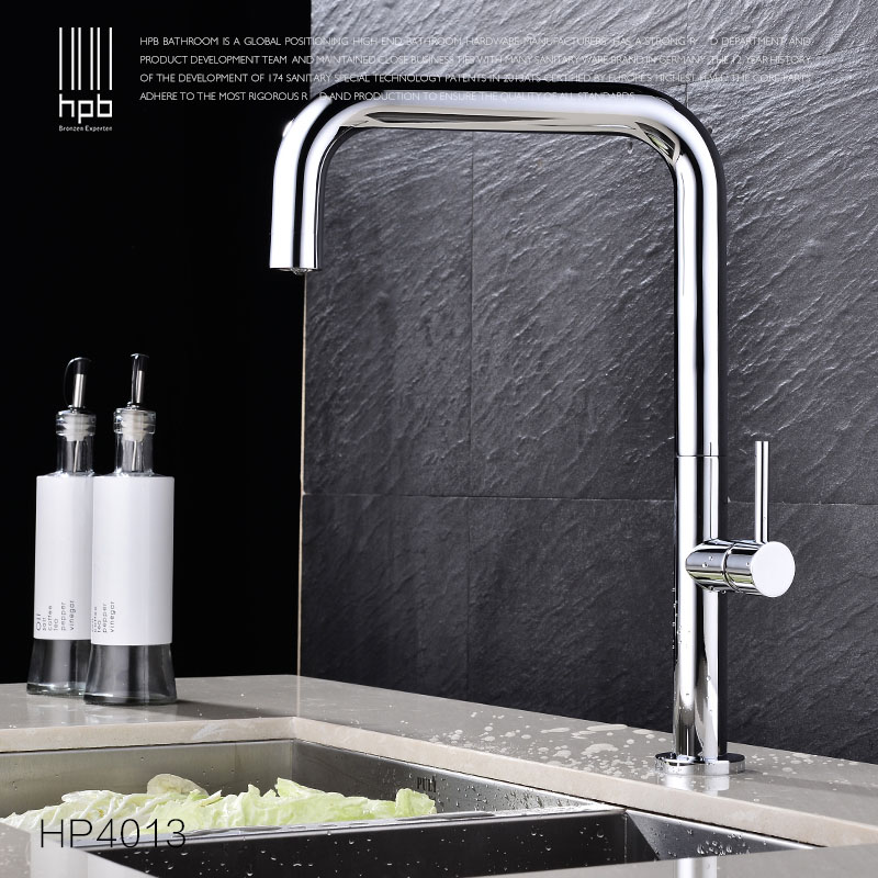 HPB Copper Deck Mounted Kitchen Faucet Sink Mixer Tap Cold Hot Water taps robinet de cuisine Chrome Swivel Spout HP4013 golden brass kitchen faucet dual handles vessel sink mixer tap swivel spout w pure water tap