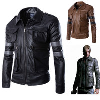Games Resident Evil 4 Costumes Men's Leon S Kennedy PU leather jacket Cosplay Casual Men wear leather trim coats with lapels