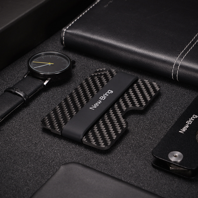 100% Real Compact Carbon Fiber Mini Money Clip and  Credit Card Sleeve