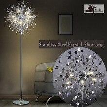 Moda lámpara de Pie de cristal moderna luces de la sala dormitorio lámparas Moderno Francés destacan Las Luces de acero Inoxidable cristal Abajur