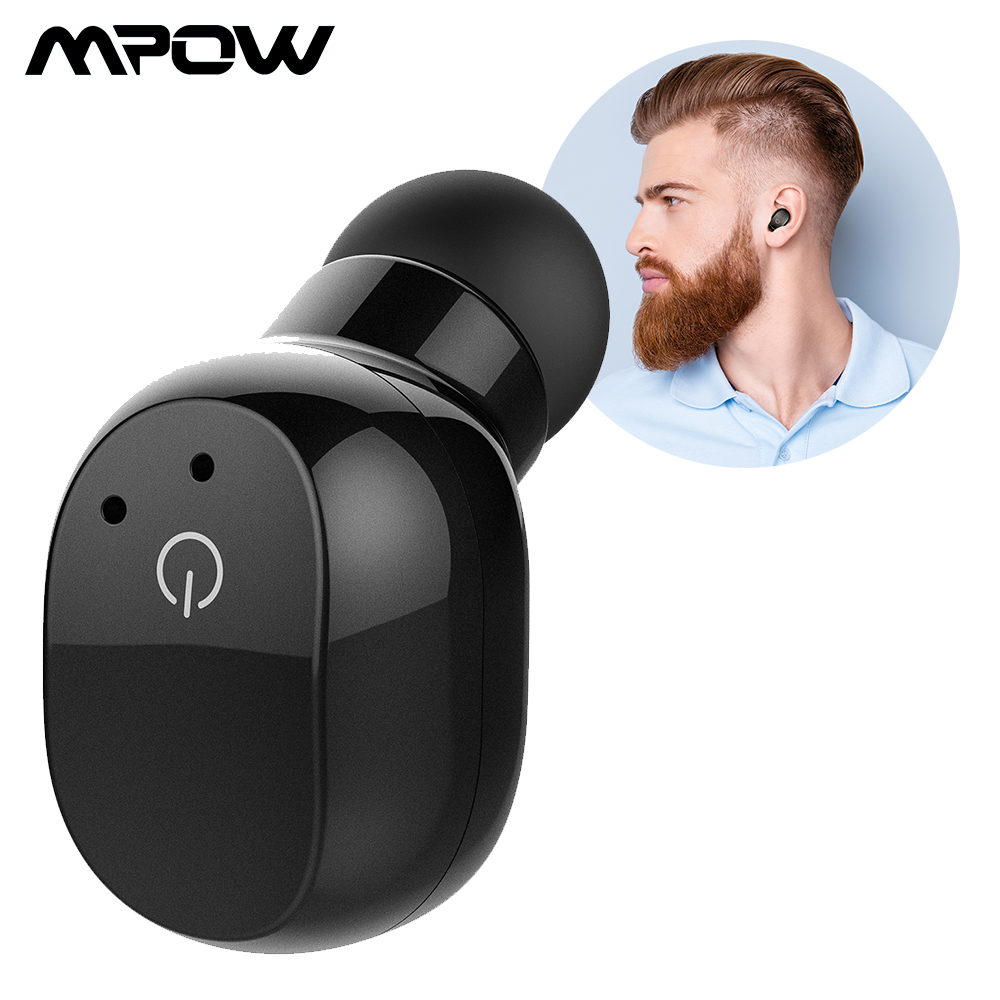 Mpow EM12 New Bluetooth V4.2 Earphone Mini Single Wireless In-ear Touch Control Earbud With Microphone & Portable Carrying Case dacom k8 mini wireless bluetooth 4 1 single earbud