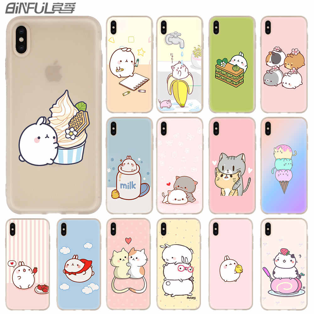 Caso Molang Kawaii Anime Dos Desenhos Animados do gato do cão para iphone XS Max XR X Tampa Do Telefone Cases para iphone 7 7 10 plus 6 s 6 8 plus 5 4S