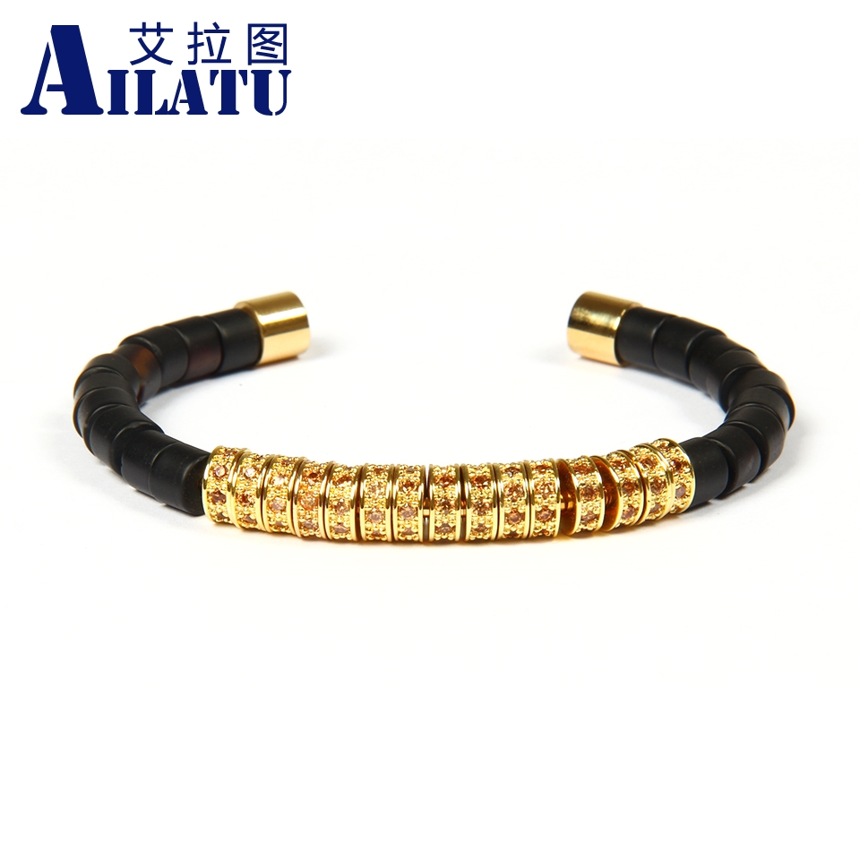 Ailatu Wholesale 10pcs/lot High Grade Jewelry Matte Onyx Stone Beads with champagne Cz Spacer Titanium Stainless Steel Bangles