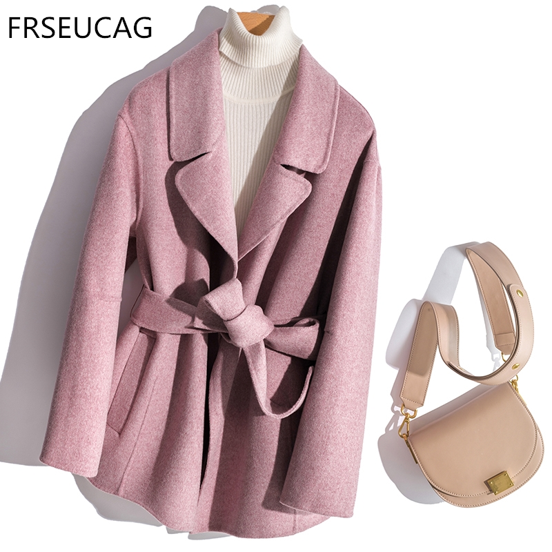 6e1f8d6a450e2d High quality double-sided woolen cashmere coat women's 18 autumn and winter  new computer knitted long-sleeved cardigan short