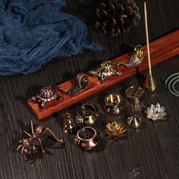 1PC Mini Cafe Ornament Buddhism Gadgets Ash Catcher Joss-stick Inserted Incense Holder Copper Censer Home Decoration 1