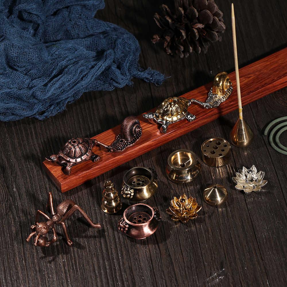 Nuevos Mini Gadgets budismo atrapastas de ceniza Joss-stick insertado incienso titular incensario de cobre café ornamento decoración para el hogar