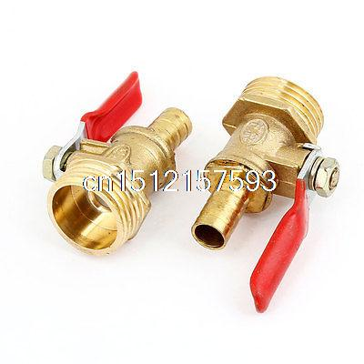 2 Pcs 1/2 PT Male Threaded to Hose Tail 7/25 Gas Flow Ball Valve Gold Tone Red air compressor 1 4 pt male threaded metal water drain valve 2 pcs