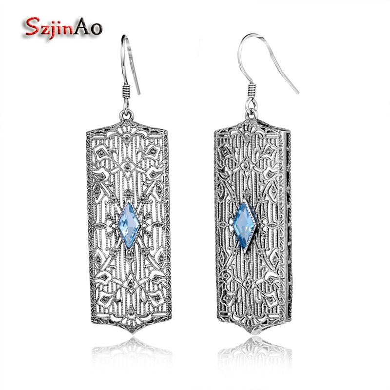 Szjinao Vintage Style Women Tibetan Jewelry Blue Aquamarine Genuine 925 Sterling Silver Handmade Crystal Earrings Free Shipping szjinao cute genuine 100