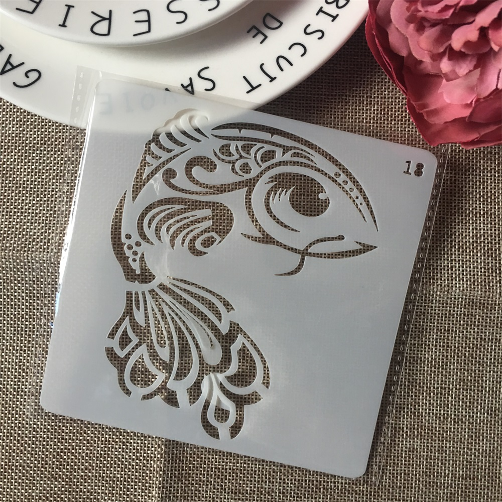 1Pcs 13cm Carp Fish DIY Layering Stencils Wall Painting Scrapbook Coloring Embossing Album Decorative Card Template