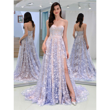 Party Dress Women Light Purple S-XL Sexy Lace Floor-length 2019 New Spring Summer Strapless Bare Back Vestidos LD956