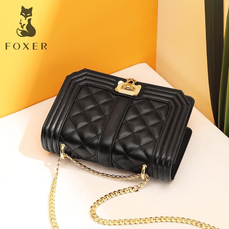 FOXER Brand Women Diamond Lattice Fashion-Forward Shoulder Bag Lady Split Leather Flap Female Graceful Soft Crossbady Bag swarovski graceful lady 5295386