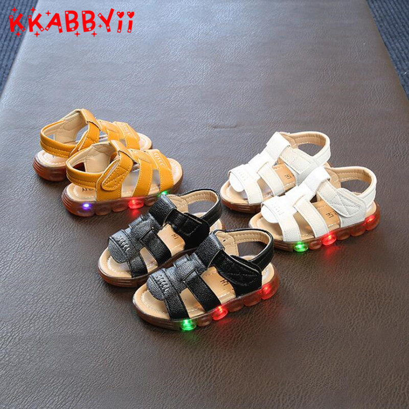 New Male Female Child Sandals Boys Girls Sport Sandal Led Slip-resistant Children Beach Sandals With Light Size 21-30