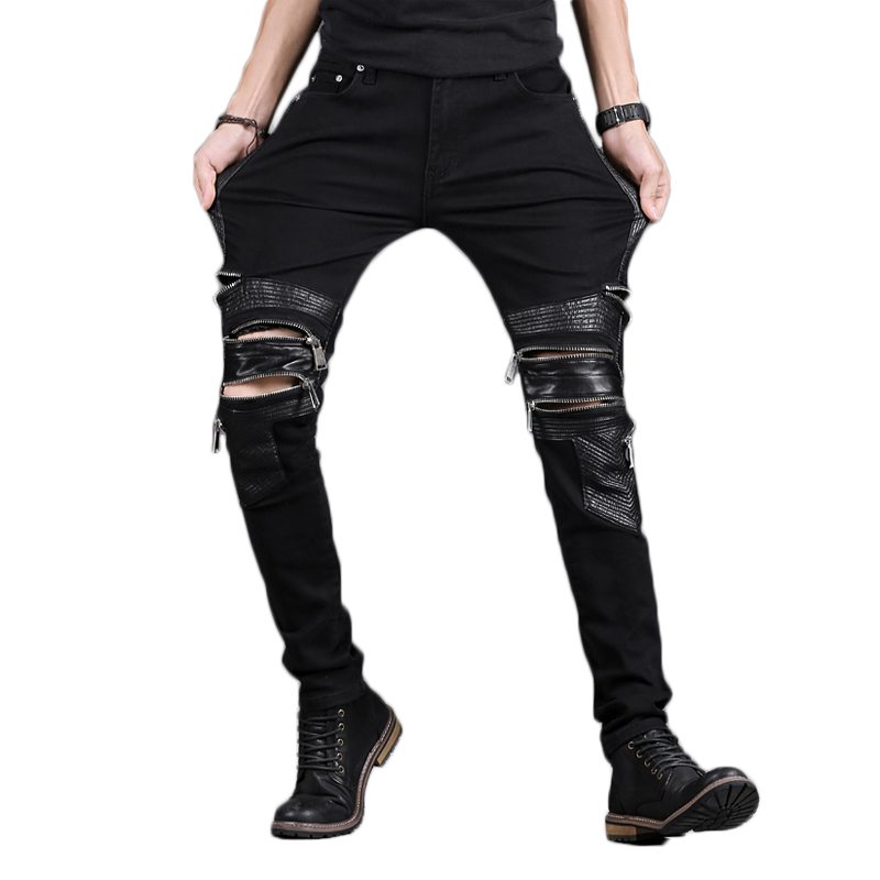ABOORUN Fashion Mens Skinny Biker Jeans Multi Zippers PU Leather Patchwork Motor Jeans Brand Jeans For Male X569
