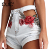 Kuk Denim Shorts Women Floral Embroidery Pocket Ripped High Waist Hollow Out Femme Short Jeans Mujer