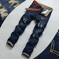 Jean Calças Slim Fit calças de Brim Dos Homens Regulares Denim Jeans Rasgado Para Homens Buraco Jeans Angustiados Calças Retas Moda Jeans Rasgados Plus