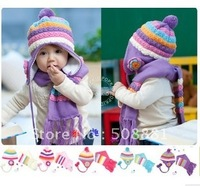 Autumn And Winter Child Baby Yarn Plus Velvet Cap Sleeve Thermal Ear Pullo Baby Hat Scarf
