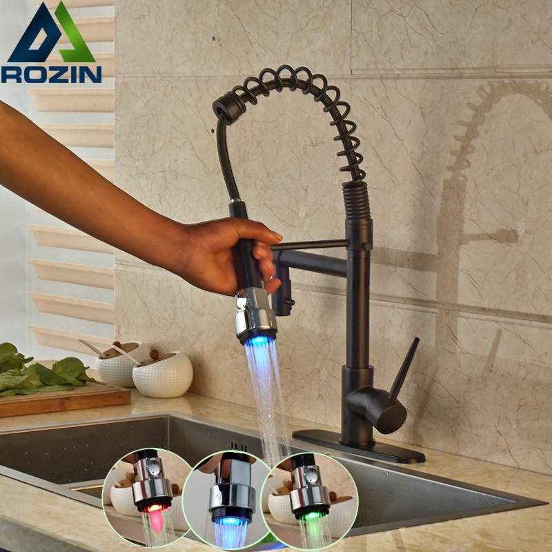 Oil Rubbed Bronze Dual Spout Kitchen Sink Faucet LED Light Spring Kitchen Mixer Tap Kitchen Hot and Cold Water tap